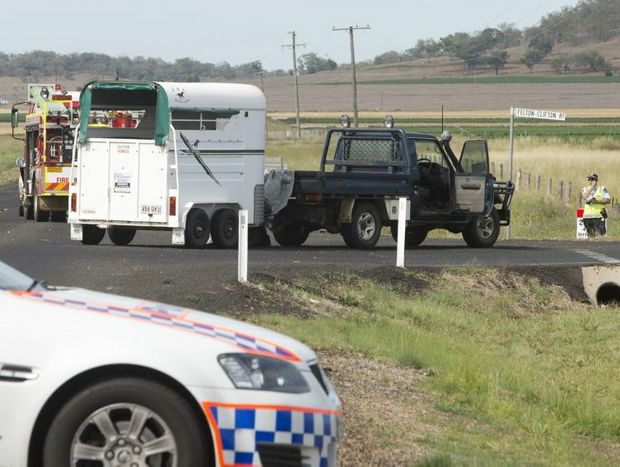 Police investigate the scene of a fatal motorcycle crash on Toowoomba Karara Rd.