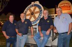 Rotary Club of Murgon's Mark Quinn, Ross Wessling, Phillip Braithwaite and Glenn Capernick man the Rotary spinning wheel.