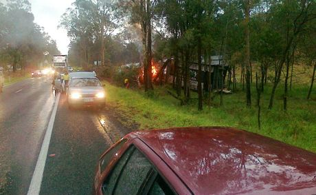 Emergency Services at the scene of a two vwechicle and truck crash on the Warego Highway, Plainlands. Photo contributed