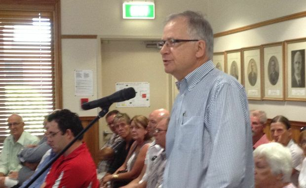 Urangan resident Tony Murray speaks against the Splash Bay Water Park development at the council meeting.