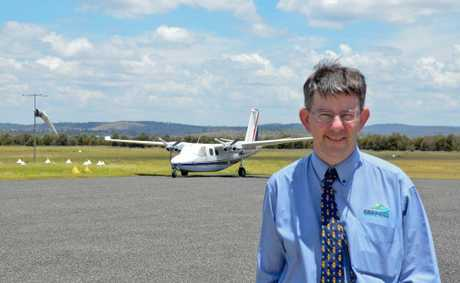 AIRPORT PLANNING: Council CEO Mark Pitt at Gayndah Airport, which could be expanded into a regional hub.