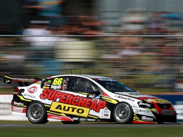 Russell Ingall of the Supercheap Auto Racing team team drives during race two of the V8 Supercars at Barbagallo Raceway on May 6, 2012 in Perth, Australia.