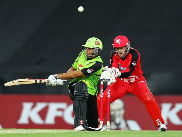 Usman Khawaja of the Thunder bats during the Big Bash League match between the Sydney Thunder and the Melbourne Renegades at ANZ Stadium on December 14, 2012 in Sydney, Australia.