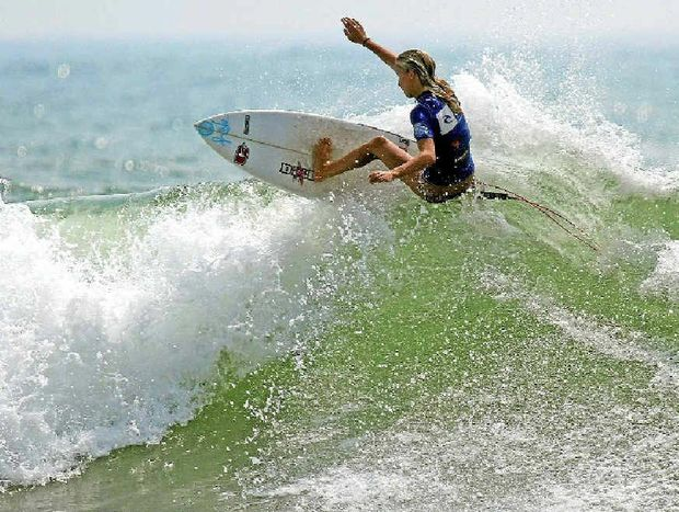 Isabella Nichols heads for victory at Coolum yesterday.