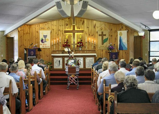 VALE NEIL: Hundreds of mourners (above and below) packed the Trinity Lutheran Church in Lowood for Neil Zabel's funeral last week.