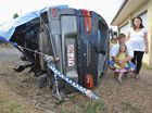 Children saved by proper safety belts during car rollover