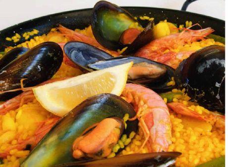 Mixed seafood paella.