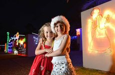 Isabell and Lucy Barwick at the Mountain Creek Rd residents' Christmas light show.