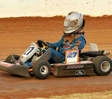 FAST KART: Steve Mergard sped his way to second in the Outlaws Queensland Title.
