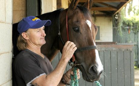 Toowoomba sprinter Azzaland with strapper Allan Miller at trainer Richie Stephenson's stable last year.