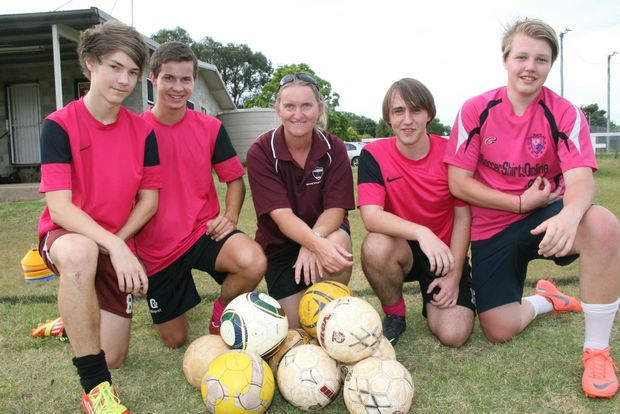 SET FOR SYDNEY: Getting in some training before next months national futsal titles in Sydney are Kingaroy Rustixs Queensland Boys team players Sam Gray, Bailey Raines, Reuben Vandenberg and Luke Vandenberg with coach Debbie Ovens.
