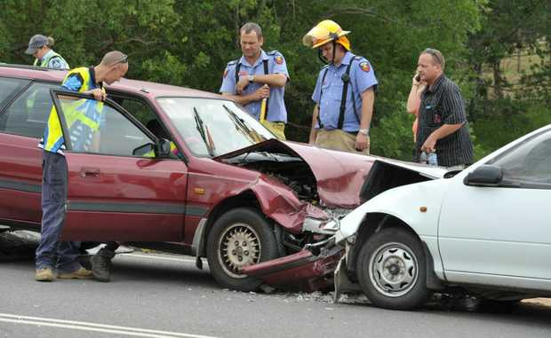 A traffic accident on Mary Street at Blackstone on Friday morning.
