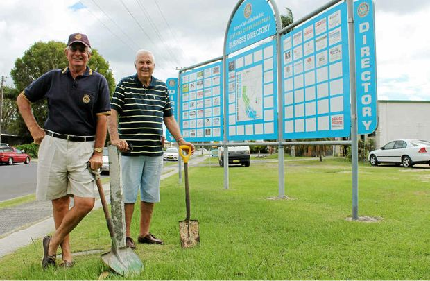 NEW SPOT: Ballina Rotarians Bruce Bevan and John Anderssen at the Southern Cross Industrial Estate business directory in its new location on North Creek Rd, Ballina.