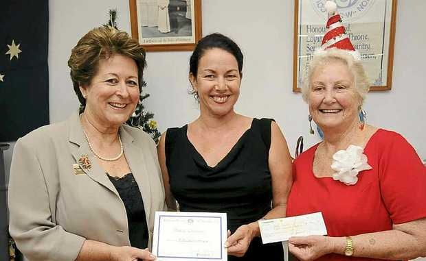SCHOLARSHIP AWARDED: Mum of Ballina CWA scholarship recipient Katie Croaker, Judy (centre), accepts the scholarship on behalf of her daughter from Ballina CWA president Jeanette Kennedy (right), with Ballina Shire councillor Sharon Cadwallader.