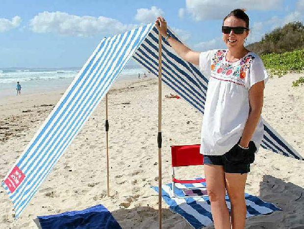 SUN SAFE: Sarah Causer with her Byron Bay Beach Shade.