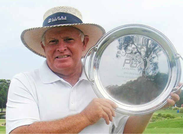 IN THE GROOVE: Peter Senior with the trophy after securing the 2012 Schweppes / Nor East Drinks Australian Legends Tour Championship at the Byron Bay Golf Club. Only a few weeks ago Senior became the oldest winner of the Australian Open.
