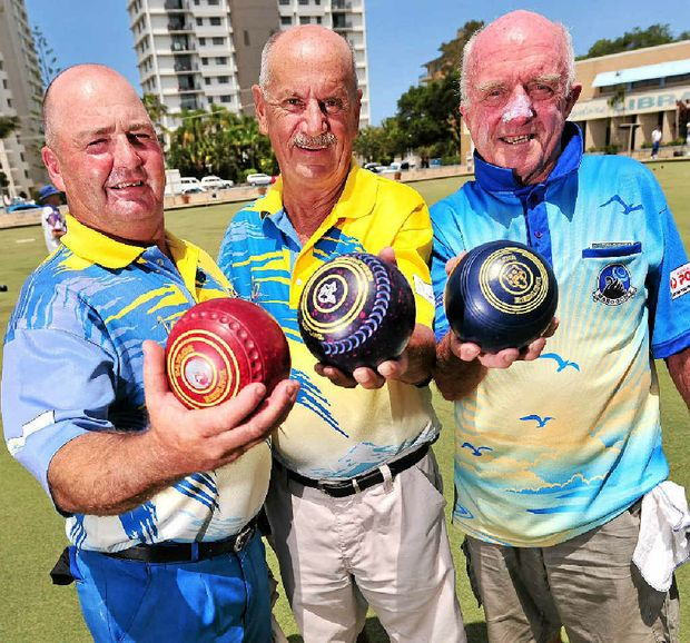 Russell Hanson, Club Maroochy Bowls Club president Eric Tomsene and David Shaw will give it their best shot in the New Year Prestige Singles.