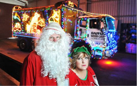 DEVASTATED: Scott Ryan and Suzanne Barnard from Sapar have been forced to take their Christmas truck off the road after being fined on Saturday night.
