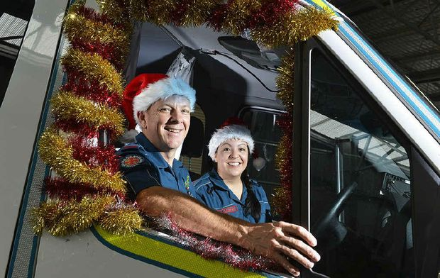CHRISTMAS JOB: Paramedics Steve Kliese and Julie Tyne will be working on Christmas Day.