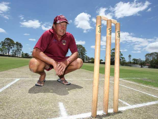Caboolture Sports Cricket Club president Steve Adams looks over the pitch after teenagers were found playing soccer on it. Photo: Darryn Smith / Sunshine Coast Daily