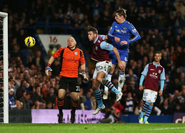 Fernando Torres of Chelsea scores with a header, but the goal is disallowed during the Barclays Premier League match between Chelsea and Aston Villa at Stamford Bridge on December 23, 2012 in London, England.