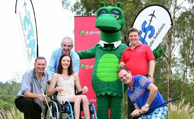 TEE TIME: Getting set for the charity golf day are (from left) Peter Sanders of ATS, Mike Dwyer of the Friedreich Ataxia Research Association, with daughter Jamie-Lee Dwyer who suffers from Friedreich Ataxia, Ross Gillam of St George and Mayor Paul Pisasale.