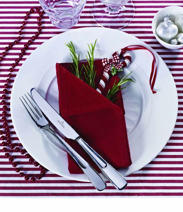 Villeroy & Boch Farmhouse Touch dinner fork RRP $18.95, knife, RRP $23.95 and dinner plate RRP $37.95, porcelain Winter Bakery Decoration Ornament sugar bar 10cm RRP$19.95; available from department stores.