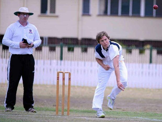 BAG OF WICKETS: Josh Ryan shows the style which nabbed him five wickets for Maryvale yesterday. Tony Burke is the umpire.