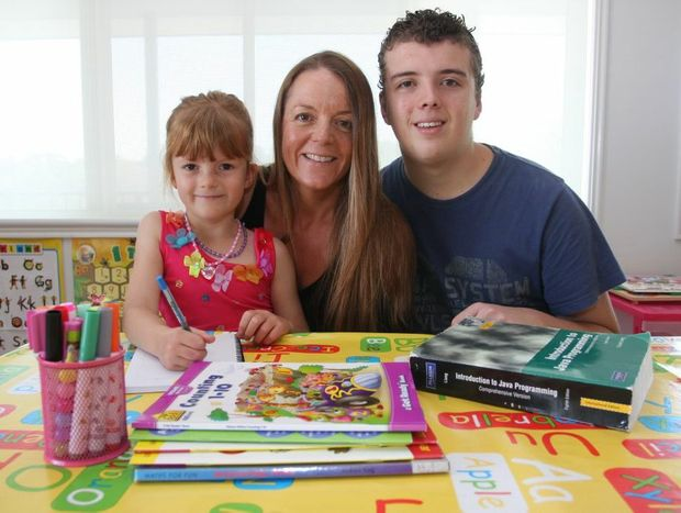 Heather Haines has home schooled both her children to give them the best education possible. (In photo) Poppy Haines, Heather Haines (mother) and Samuel Windall.