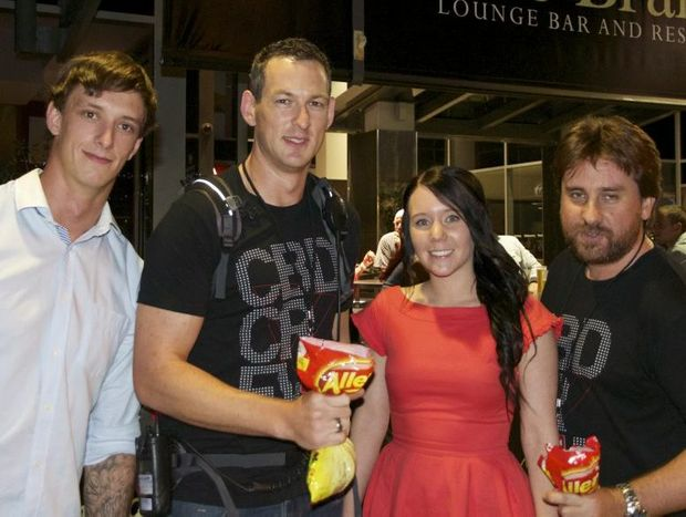 Enjoying last Saturday night in Toowoomba are (from left) Adam Gibson, crew member Caleb Kirby, Bonnie Williams and crew member Heath Martin.