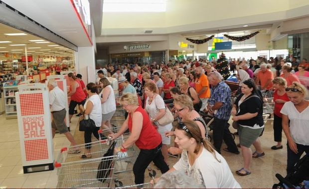 Crowds head into Target at Stockland to go bargain hunting at the Boxing Day sales.