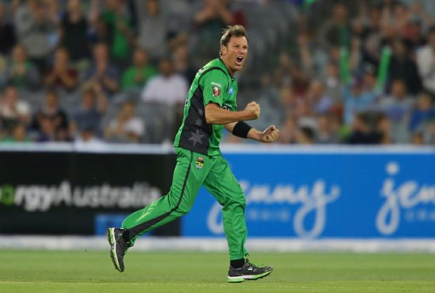 Shane Warne of the Stars celebrates after dismissing Moises Henriques of the Sixers during the BBL match between the Melbourne Stars and the Sydney Sixers at Melbourne Cricket Ground on December 21, 2012 in Melbourne, Australia.