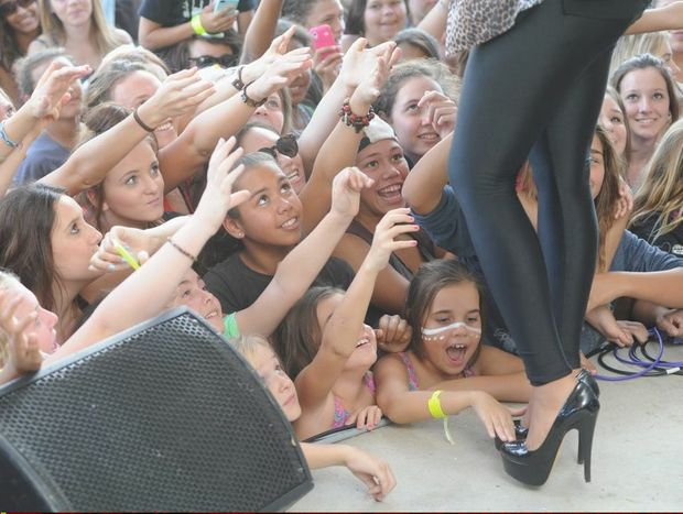 Jessica Mauboy performs to adoring fans at Pialba's Seafront Oval in May.