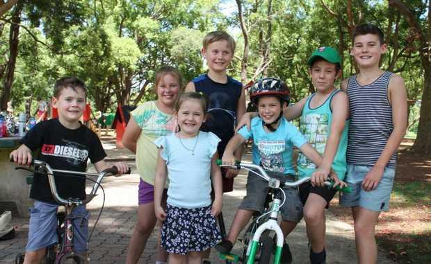 Having a huge day in the park are (from left) Lucas Ernst, Taylah Erdmann, Bridie Ernst, Riley Ernst, Cooper Erdmann, Bailey Erdmann and Brodie Ernst.