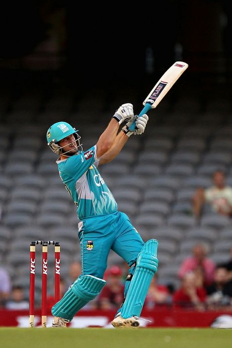 Joe Burns of the Heat plays a shot during the Big Bash League match between the Melbourne Renegades and the Brisbane Heat at Etihad Stadium on December 22, 2012 in Melbourne, Australia.