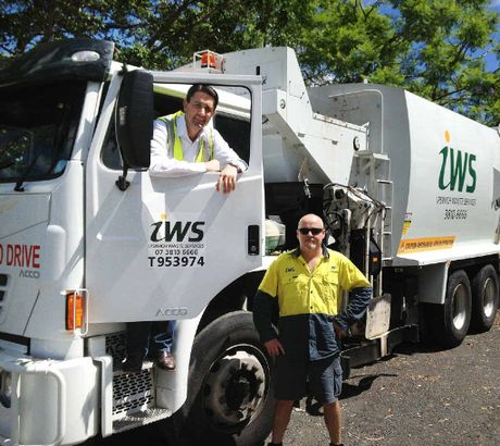 TALKING RUBBISH: Local Government Minister David Crisafulli with Jason Miller from Ipswich Waste Services.