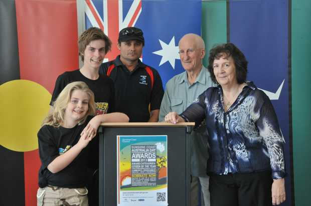 At the launch of the Sunshine Coast Australia Day Awards for 2013 at the Mooloolaba Surf Club are previous winners (L-R) Ailish Bolt, Ash Ogilvie, Kerry Jones, Gordon Howitt and Ruth Bode. Photo: Brett Wortman / Sunshine Coast Daily