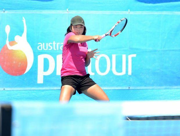 Olivia Tjandramulia. Rockhampton competitor playing in the Rockhampton Tennis International tournament.