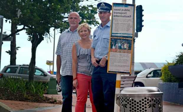 Wayne Thompson, Gail O'Neill and Srg Bill Kaz. Photo: Blainey Woodham / Daily News