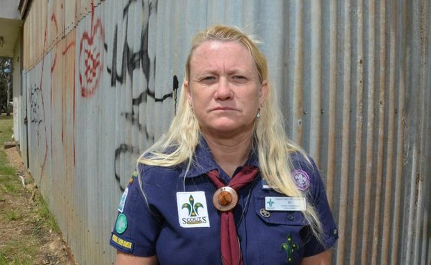 DISAPPOINTED: Scouts of Australia district commissioner Christine Littlejohns is disgusted by the frequent vandalism of the Kingaroy scout den.
