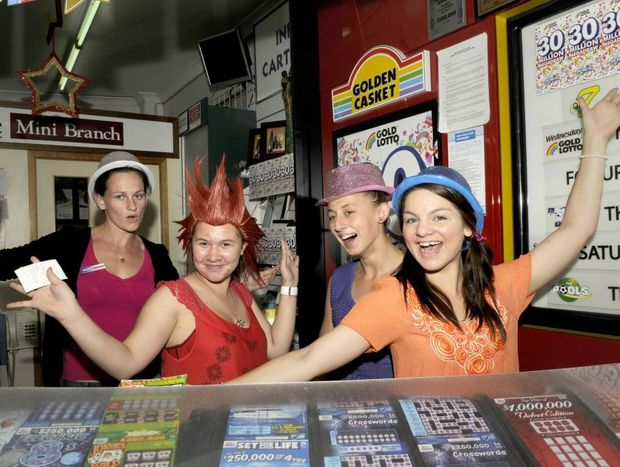 Southtown News staff exicted with the $30 million Lotto this Saturday. Brittany Baumann, Shania Bruggemann, Carlie Reid and Jess Noy.