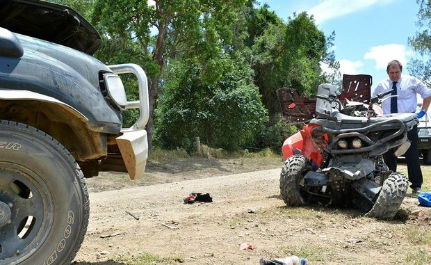 A 19-year-old man was killed in this crash between a quad bike and a four-wheel-drive on Amamoor Creek Road.