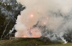Illegal fireworks are detonated in a bunker at the Helidon Explosives Reserve this morning.