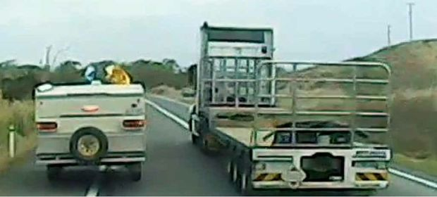 FILMED: Still from video taken by truck driver of incident last week.