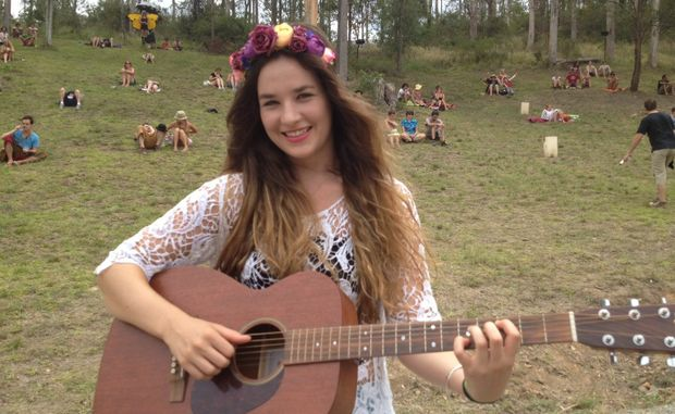 Sunshine coast singer-songwriter Mia Wray at Woodford Folk Festival.