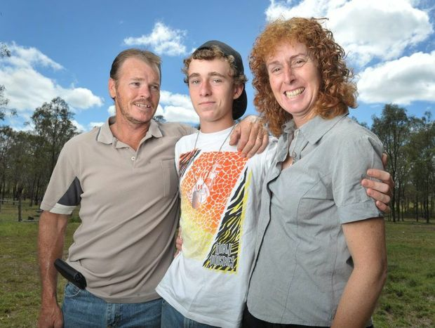 Fourteen-year-old Brendan Young has lost his vision due to a mysterious illness. His father Steven and mum Carol.