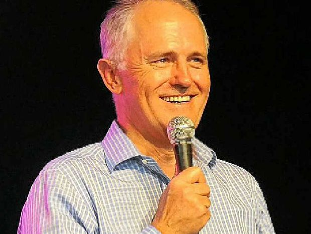 POLITICAL PLAY: Malcolm Turnbull addresses a capacity crowd at the Woodford Folk Festival.