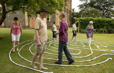 Slowly walking the temporary labyrinth at St Luke�