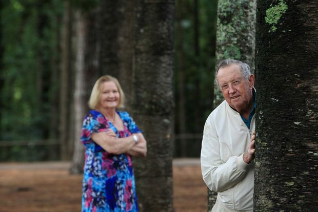 B150 Living Legends, Val Colless (70) and Keith Guy (78) planted trees on the Buderim Mountain State School grounds. Photo: Cade Mooney / Sunshine Coast Daily