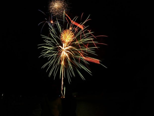 Fireworks mark the end of the Venetian Carnival on the banks of the Clarence River on Friday evening.